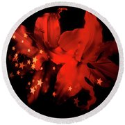 Red Winter Lilies With Stars Round Beach Towel