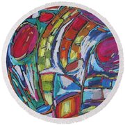 Round Beach Towel featuring the pastel Red Worlds Collide by Dianne  Connolly