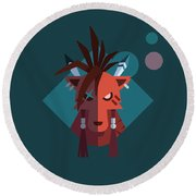 Red Xiii Round Beach Towel by Michael Myers