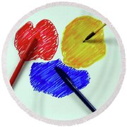Red Yellow Blue Round Beach Towel
