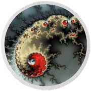 Red Yellow Grey And Black - Amazing Mandelbrot Fractal Round Beach Towel