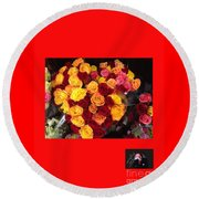 Red Yellow Pink Roses 1 Round Beach Towel by Richard W Linford