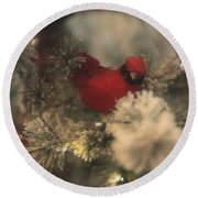 Redbird Snowy Greetings Round Beach Towel