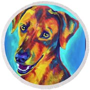 Redbone Coonhound - Yellow Round Beach Towel
