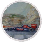 Redbull Racing Car Monaco  Round Beach Towel