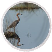 Reddish Egret And Reflection In The Morning Light Round Beach Towel