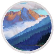 Redfish Lake - Low Clouds Round Beach Towel