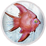 Round Beach Towel featuring the mixed media Redfish by Walt Foegelle