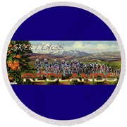 Redlands Greetings Round Beach Towel by Linda Weinstock