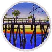 Redondo Beach Pier Round Beach Towel by Jamie Frier