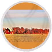 Reds And Oranges Round Beach Towel