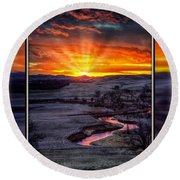Round Beach Towel featuring the photograph Redwater River Sunrise by Fiskr Larsen