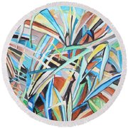 Reed Abstraction Round Beach Towel by Esther Newman-Cohen