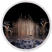Round Beach Towel featuring the digital art Reeds On Fire by Melissa Messick
