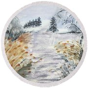 Reeds On The Riverbank No.2 Round Beach Towel