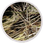 Reeds Reflected Round Beach Towel