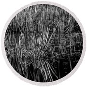 Reeds Reflection  Round Beach Towel