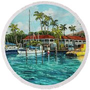 Round Beach Towel featuring the painting Reef Dancer  by Darice Machel McGuire