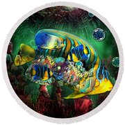Reef Fish Fantasy Art Round Beach Towel
