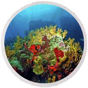 Reef Scene With Divers Bubbles Round Beach Towel
