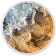 Round Beach Towel featuring the photograph Reefy Textures by T Brian Jones