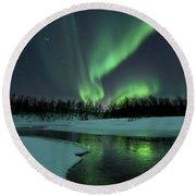 Reflected Aurora Over A Frozen Laksa Round Beach Towel by Arild Heitmann