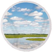 Round Beach Towel featuring the photograph Reflected Clouds - 01 by Rob Graham
