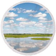Reflected Clouds - 02 Round Beach Towel
