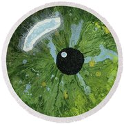 Reflected In The Eye Of A Child Never Born Round Beach Towel