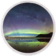 Reflected Lights Round Beach Towel by Alex Conu