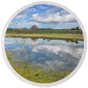 Reflected Mountains Round Beach Towel
