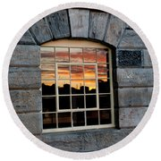 Reflected Sunset Sky Round Beach Towel by Helen Northcott