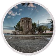 Reflected Tower Round Beach Towel