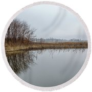 Reflected Trees Round Beach Towel