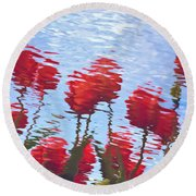 Reflected Tulips Round Beach Towel