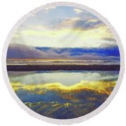 Reflecting At The Beach Round Beach Towel by Joseph J Stevens
