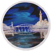 Reflecting Bridge 2 Round Beach Towel