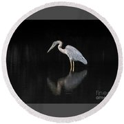 Round Beach Towel featuring the photograph Reflecting Heron by Judy Wolinsky