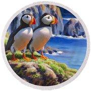 Horned Puffin Painting - Coastal Decor - Alaska Wall Art - Ocean Birds - Shorebirds Round Beach Towel
