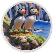 Horned Puffins - Coastal Decor - Alaska Landscape - Ocean Birds - Shorebirds Round Beach Towel