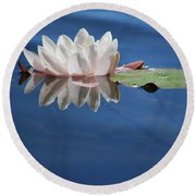 Reflecting In Blue Water Round Beach Towel