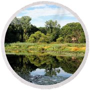 Round Beach Towel featuring the photograph Reflecting On A Summer Morning by William Selander