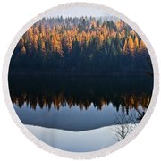 Reflecting On Autumn Round Beach Towel
