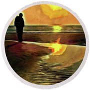 Reflecting On The Day Round Beach Towel by Trish Tritz