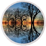 Round Beach Towel featuring the photograph Reflecting On Tonight by Chris Berry