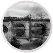 Reflecting Oval Stone Bridge In Blanc And White Round Beach Towel