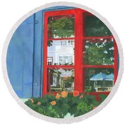 Reflecting Panes Round Beach Towel by Lynne Reichhart