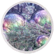 Reflecting Spheres In Space Round Beach Towel