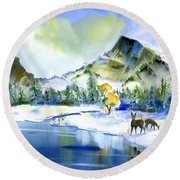 Reflecting Yosemite Round Beach Towel