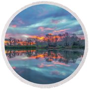 Reflection At Sunrise Round Beach Towel by Marc Crumpler